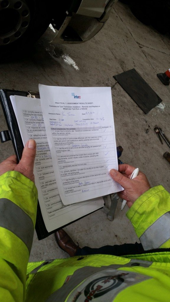 A typical Society of Operations Engineers' (SOE) Commercial Tyre Technician Licence assessment sheet