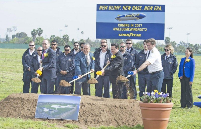 Breaking ground on the improvements planned for Carson airship base