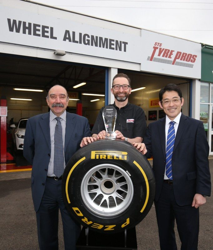(l-r) Dominic Sandivasci, Pirelli UK managing director; Robert Jenkins, STS Tyre Pros centre manager; and Kenji Murai, CEO ETEL