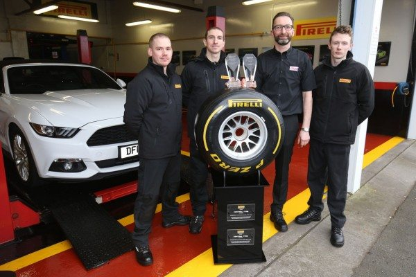 (l-r) STS Tyre Pros Chester employees Mike Critchley, Clarke Collings, Robert Jenkins, Kieran Neil