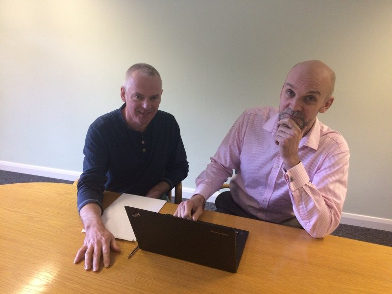 Technical delivery lead Shaun Keevil (right) working through the TIE platform design with consultant Kevin Glynn (left)
