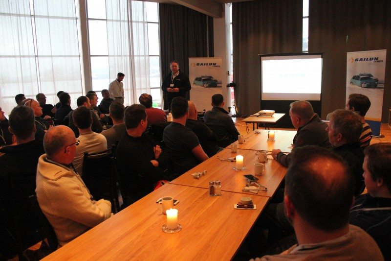 Recently appointed Sailun Jinyu International Europe president, Gareth Passmore, addresses some of the 80 dealers from across Europe that attended the event in Northern Sweden