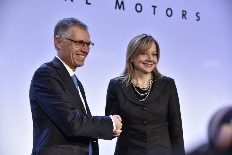 PSA's Carlos Tavares and GM head Mary Barra announced the acquisition at a press conference in Paris on 6 March 2017