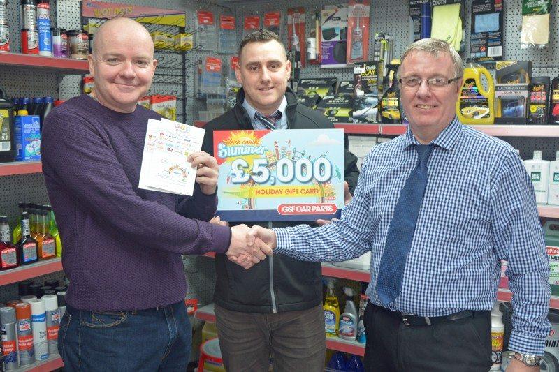 (l-r) David Jackson, winner, with Anthony Morrison, branch manager, and Derek Tomlinson, regional sales manager