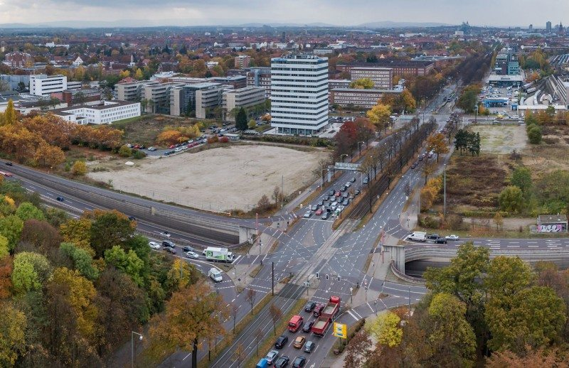 One of the three prize-winning designs will eventually occupy these bare blocks of land in Hannover