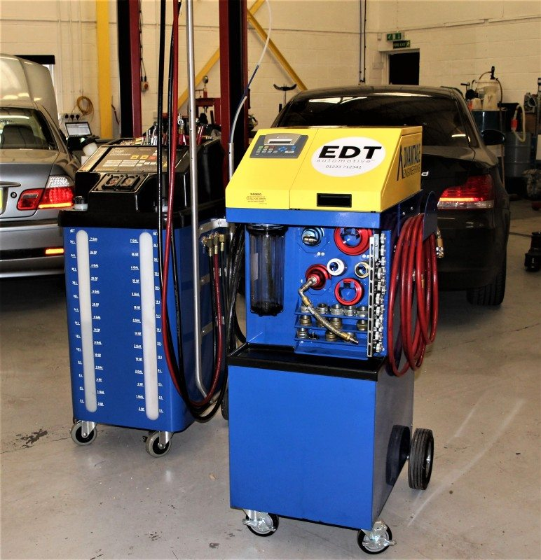EDT engine clean (right) and auto transmission machines