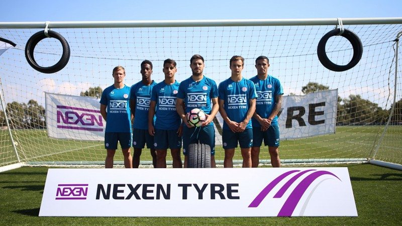 Melbourne City's A-League team wore the Nexen logo on its training kit for the first time during a 'Nexen Tyre Challenge' on Wednesday 5 April