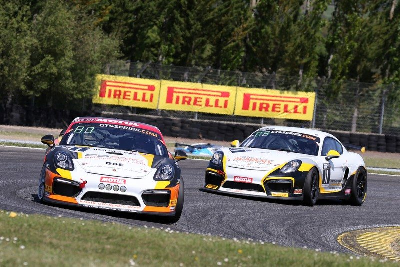 The Moullin-Traffort-Hallyday Porsche took victory in the GT4 European Series on Pirelli rubber
