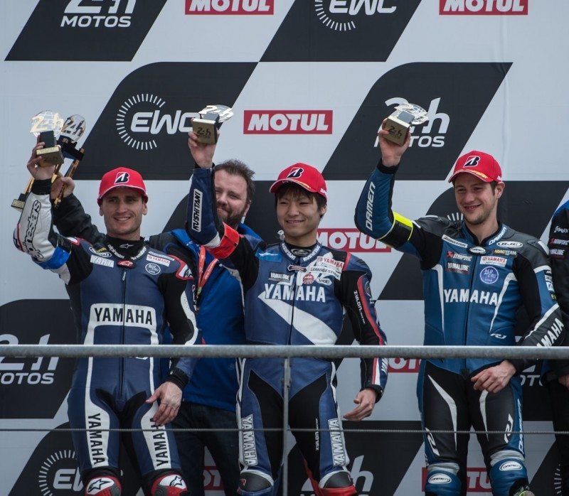 (l-r) YART riders Broc Parkes, Max Neukirchner, Marvin Fritz and Kohta Nozane celebrate their podium finish at Le Mans