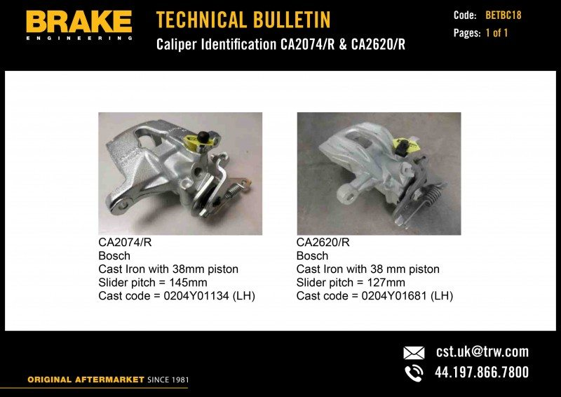 New technical bulletins from Brake Engineering