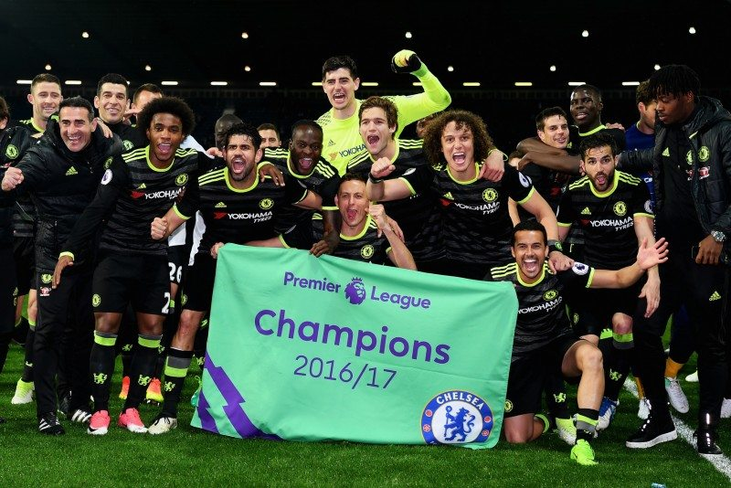 Chelsea celebrates winning the Premier League with two games to spare; Yokohama is in its second season as the club's shirt sponsor (Getty Images)