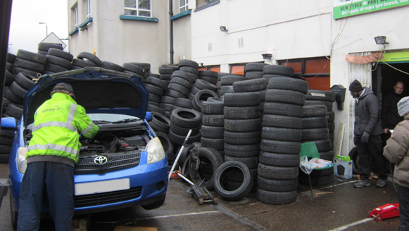 Six of the seven tyres were non-compliant with the only legal example being 18 years-old