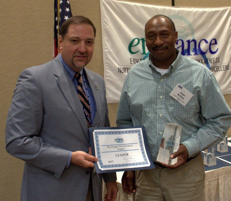 Albert McShan (right), energy coordinator for Cooper's Tupelo plant, accepts the enHance Leader award from Mississippi Department of Environmental Quality executive director Gary Rikard