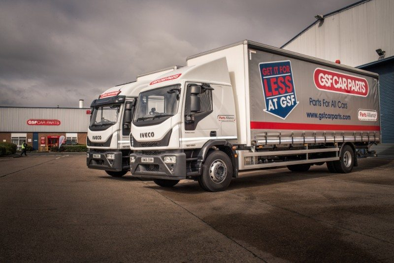 GSF Car Parts has taken delivery of two new Iveco Eurocargo 180-250 18T curtain side lorries