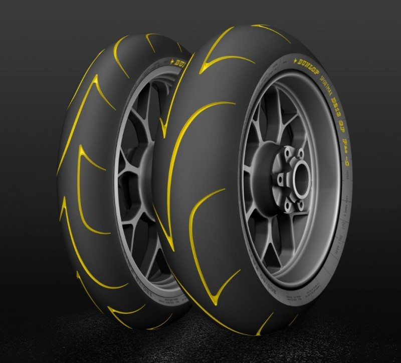 Dunlop says the D213 GP Pro's distinctive tread pattern has been designed to optimise warm up times and provide maximum road contact in dry conditions