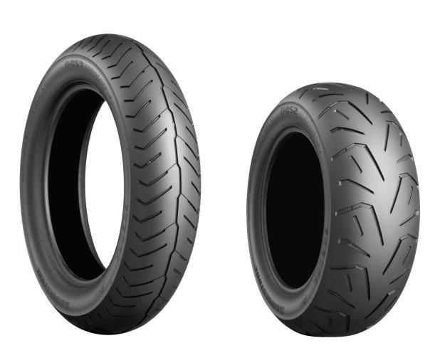 Bridgestone Exedra front (l) and rear tyres