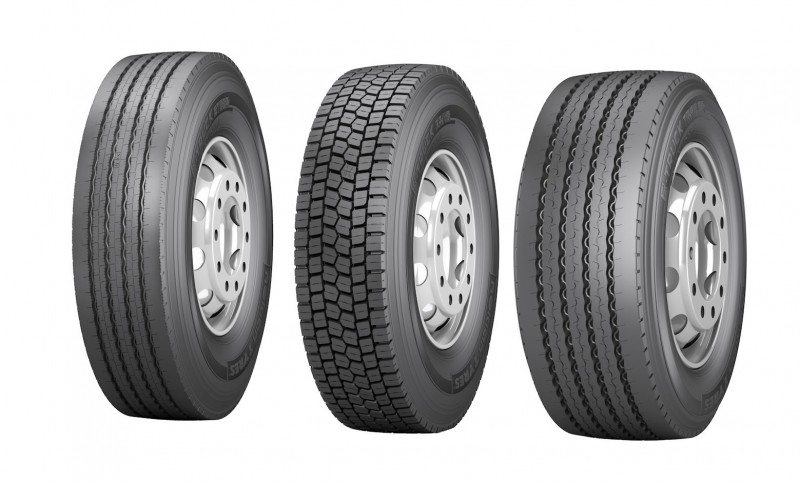 (l to r): Nokian E-Truck Steer, E-Truck Drive and E-Truck Trailer tyres