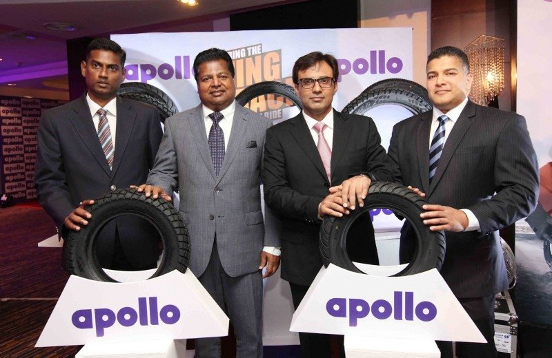 Rajesh Udaykumar, Apollo Tyres' head of sales (SAARC & Oceania), Nalin Welgama, chairman of Ideal Wheels & Tyres, Rajesh Dahiya, group head of sales (India, SAARC & Oceania) for Apollo Tyres and Jagat Samarasekara, CEO of Ideal Wheels & Tyres, at the introduction of Apollo's two wheeler range in Sri Lanka