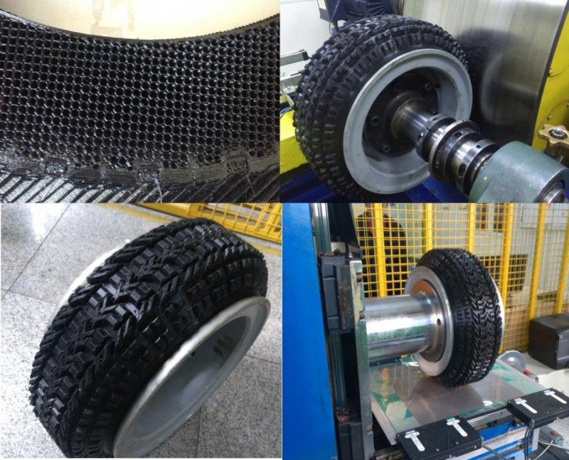The process involved using fused deposition modelling (FDM) to form the thermoplastic polyurethane (TPU) material into a tyre shape shape with a hexagonal, honeycomb-like structure