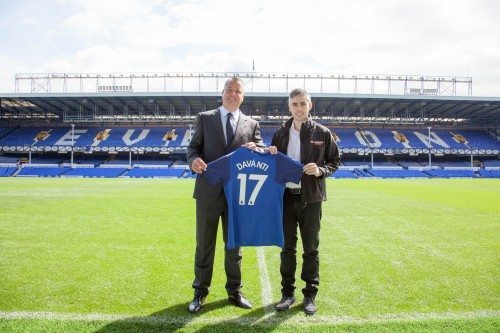 Alan McTavish, Everton Football Club head of commercial partnerships and Peter Cross, general manager of Davanti Tyres, at Goodison Park