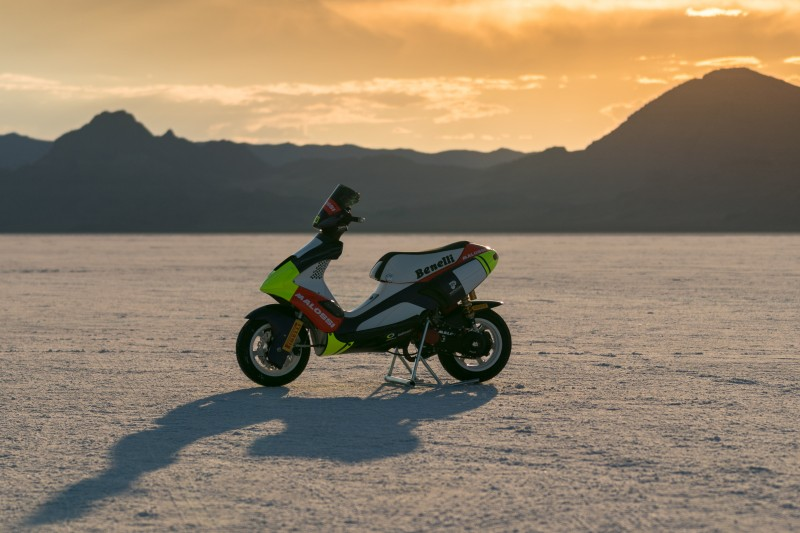 The Benelli model 491 scooter was fitted with Pirelli's Diablo Rosso Scooter tyres for its world record attempts