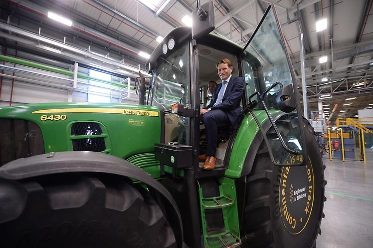 Nikolai Setzer aboard a Conti-shod tractor