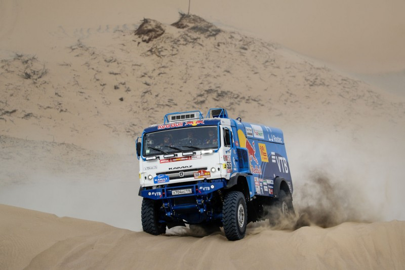 The Kamaz-Master truck driven by Nikolaev and his crew, seen here in Peru, finished the event almost four hours ahead of the competition