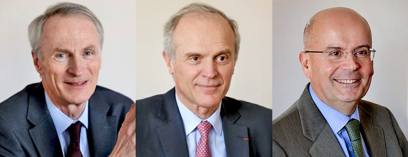 Following the end of Jean-Dominique Senard's (l) current term, Florent Menegaux (middle) will become CEO of Michelin. Yves Chapot will also become a managing partner