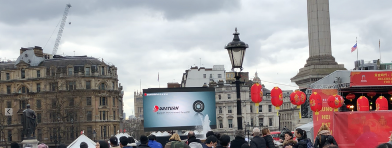 When Chinese New Year was celebrated in Central London it was estimated to be attended by over 700,000 people. This makes it the biggest event of its kind outside China and the main stage for the event was in the iconic Trafalgar Square.