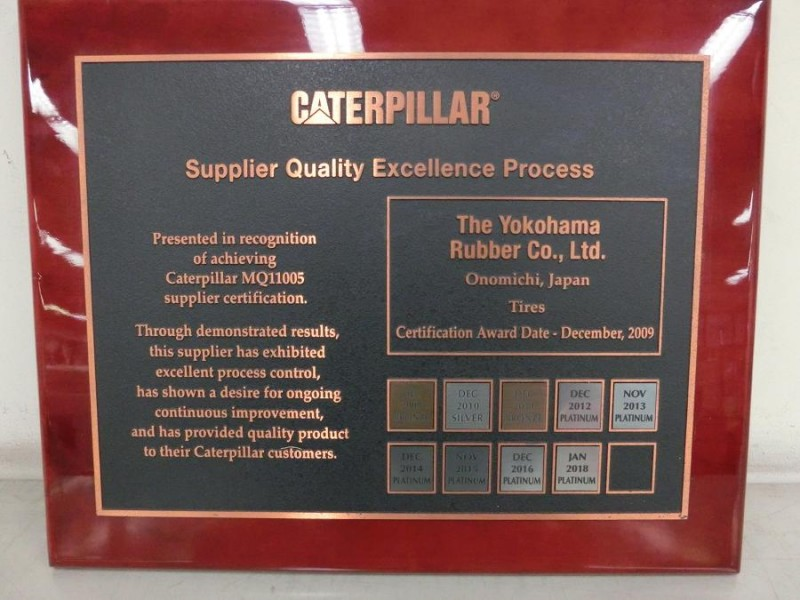 Yokohama obtains Caterpillar platinum recertification