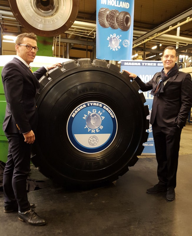 Product of Holland: René de Vent (l), Hardenberg municipal alderman, and Magna Tyres Group CEO Michael de Ruijter unveil the first European-made Magna tyre