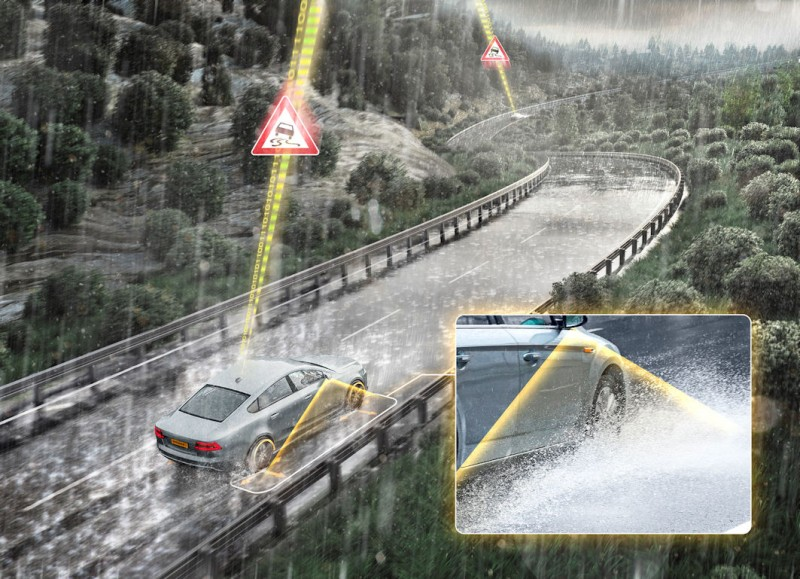 Cameras recognise a specific splash and spray pattern from the tyres