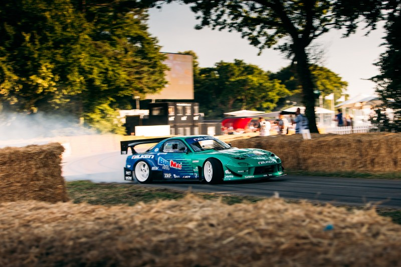 James Deane will drift his Falken-liveried Mazda RX-7 up the Goodwood Hillclimb at the Festival of Speed