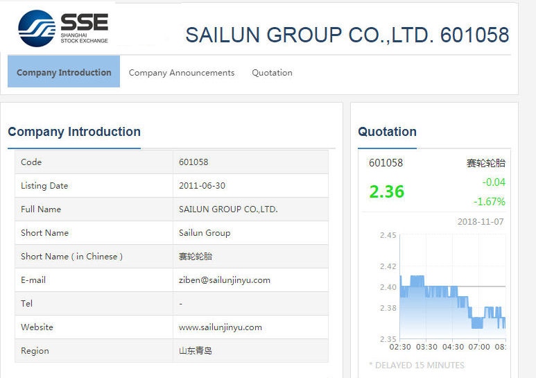 SSE debut for new Sailun Group ticker symbol