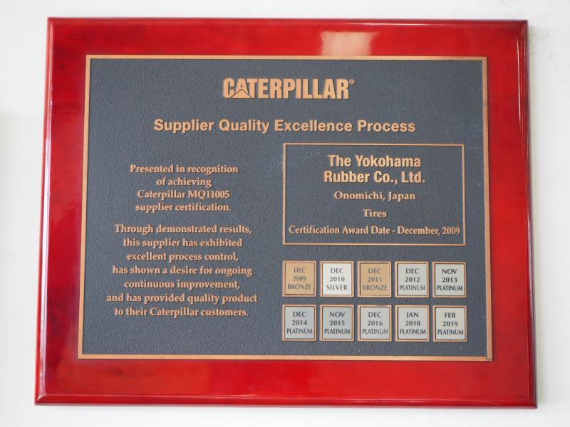Another Caterpillar platinum award for Yokohama