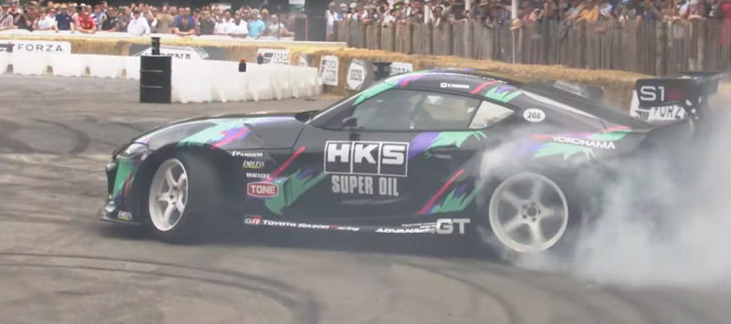 Yokohama-shod Toyota GR Supra Drift by HKS at Goodwood