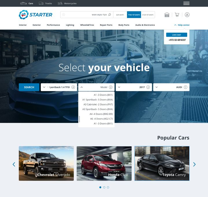 Starter offers online vehicle and parts marketplace