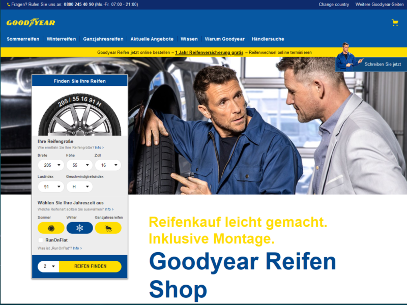 Goodyear is beginning its European online tyre retail