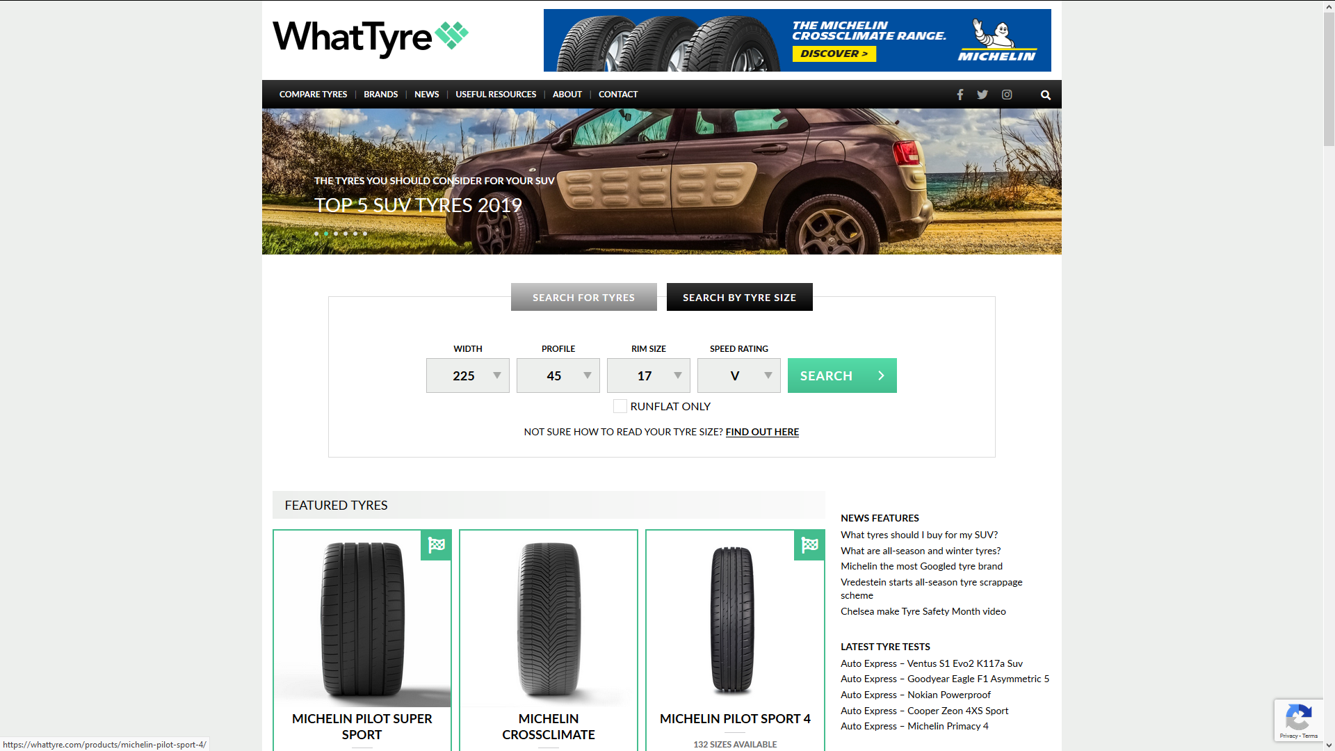 WhatTyre homepage