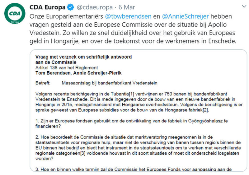 Apollo Vredestein plant restructuring: Dutch politicians seek answers from European Commission
