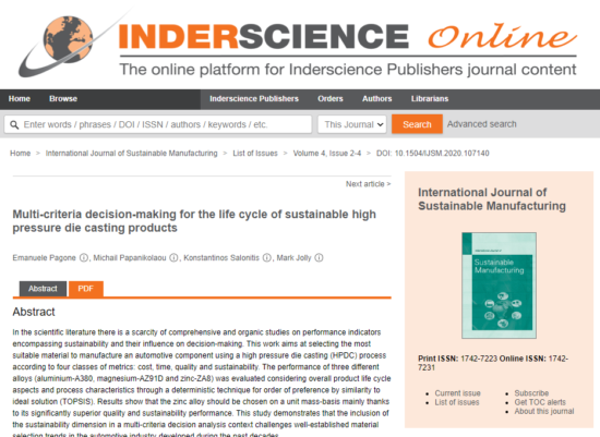 The study is published in the 'International Journal of Sustainable Manufacturing' (pictured)