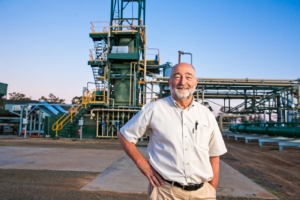 Trevor Bayley, COO Green Distillation Technologies, pictured in front of the firm's processing facility in Warren, Western New South Wales (Photo: GDT)