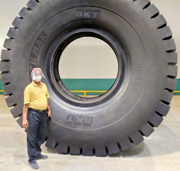 "Pre-launch testing for BKT's 57"" rigid dump truck tyre"