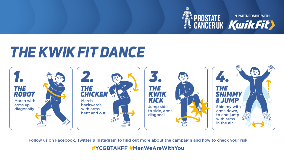 Fast feet at 50 – Kwik Fit fitters dance to raise awareness of prostate cancer risk