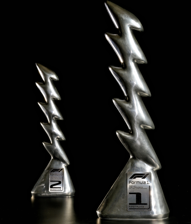 Inspired by racing cars, landscapes & Zeus: Pirelli's F1 trophies for Imola