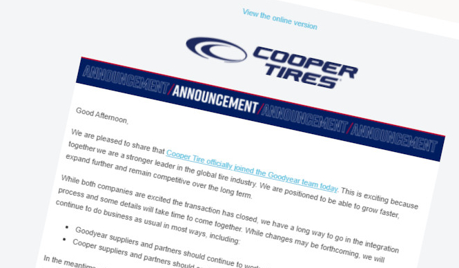 Cooper Tire joins the Goodyear team