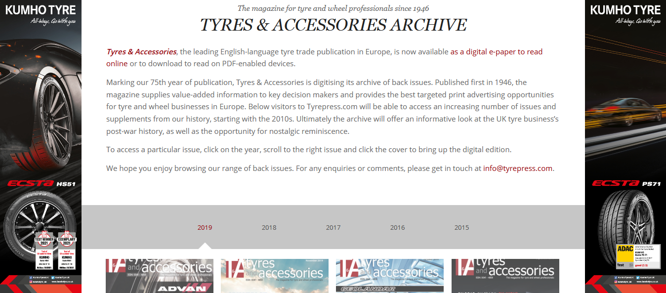 Tyres Industry Publications: the next 75 years